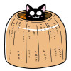 かわいい〜「ラタンキャットポット 猫壺」すっぽり快適だニャ!