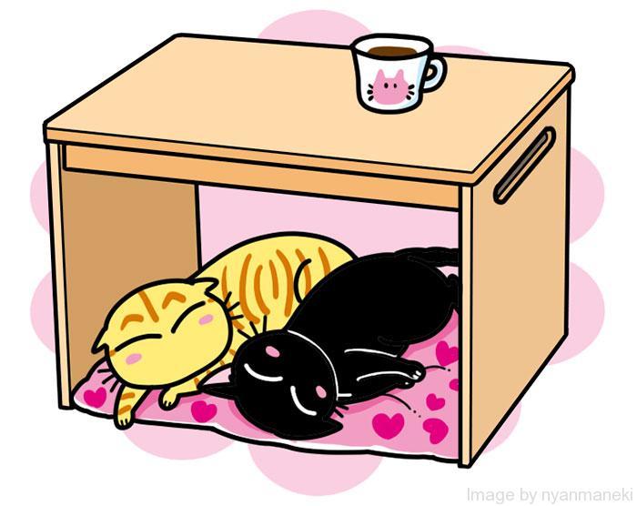 遠赤ヒーター付きサイドテーブル 猫用こたつ