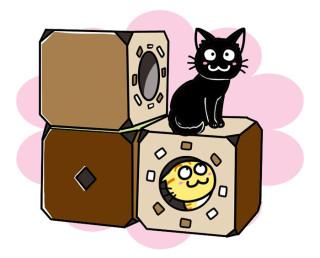 「猫ジムBOX」ボックスを色々な形に積み上げて、キャットタワーにも出来ちゃうョ!