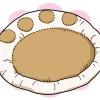 肉球模様がカワイイニャ!程よい厚みの肉球クッション、やっぱりオーガニック100%が1番ニャ!