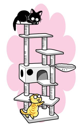 ニャンコのアンヨにも優しい、登りやすいステップとハンモック付き!真っ白なシニア用「キャットタワー クラウド」