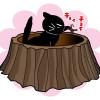 いつものキャットトイレが、かわいく変身ニャ!切り株型の面白トイレだニャ〜!